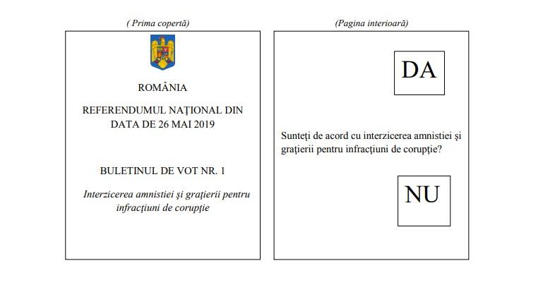 Buletin de vot pentru referendumul din Romania, 2019