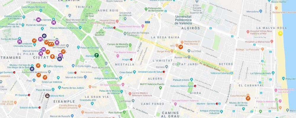Ghid turistic Valencia - hartă interactivă