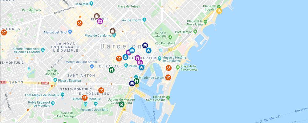 Hartă interactivă - obiective turistice și restaurante în Barcelona